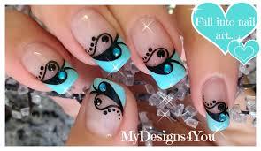 valentine u0027s day nail art blue and black french diseño de uñas