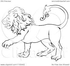 clipart of a black and white line draing of the leo lion zodiac