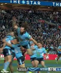 aaron woods hilarious try celebration fail in state of origin