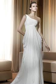 Wedding Dress On Sale One Shoulder Ruched Drapping Empire Waist Sheath Wedding Dress On