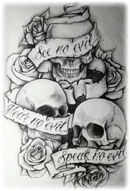 hear no evil see no evil speak no evil skulls ink