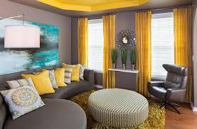 idee deco salon canap gris déco salon jaune canape gris pouf design idee interieur amenagemet