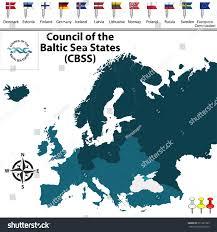 Baltic Sea Map Vector Map Council Baltic Sea States Stock Vector 571381783