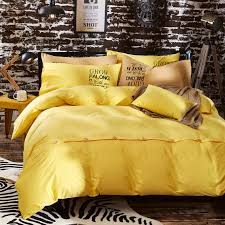 Yellow Duvet Cover King Yellow Pure Cotton Solid Color Comforter Bedding Sets Botton Plain