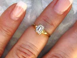 vintage emerald cut engagement rings vintage engagement ring 050ct emerald cut diamond engagement ring