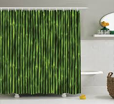 Curtains 80 Inches Long Bamboo Shower Curtain By Ambesonne Bamboo Stems Pattern Tropical