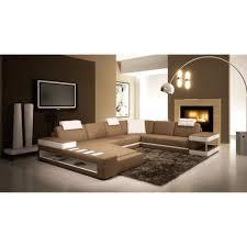 achat canap d angle canapé d angle panoramique en cuir marron et blanc sinyo achat