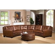 Top Grain Leather Sectional Sofas Curved Sectional Brown Curved Top Grain Leather