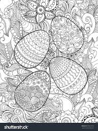 Easter Egg Decorating Poster by Easter Eggs Flowers Coloring Page Hand Stock Vector 383518153