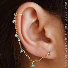 earring with chain to cartilage helix earring chain earring helix hoop cartilage chain