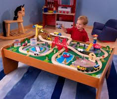 kidkraft waterfall mountain train set u0026 table with 120 accessories