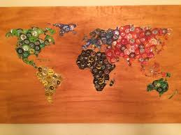 World Map Artwork by Beer Cap Map Mosaic On Wood 44