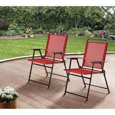 Patio Folding Chair Mainstays Pleasant Grove Sling Folding Chair Set Of 2 Walmart