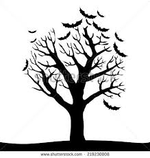 silhouette halloween tree isolated on white stock vector 219230008