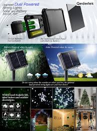 Solar Powered Icicle Lights by Amazon Com Qedertek Solar U0026 Battery Christmas Lights 72ft 200