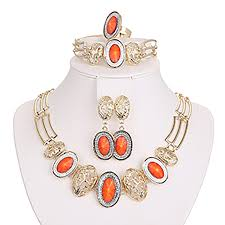 earring necklace bracelet sets images Orange fashion gold plated party set including earring necklace jpg