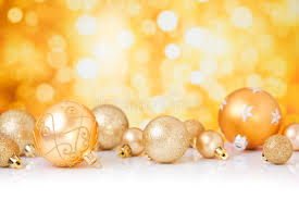 with gold baubles gold background stock photo
