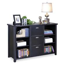 Three Drawer Wood File Cabinet by Black Wooden Bookcase With Three Shelves And Having Drawers On The