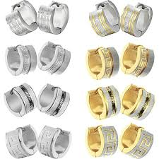 types of earrings for men men hoop earrings 7mm gold plated stainless steel earring for cool