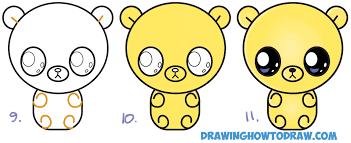 draw cute chibi kawaii cartoon gummy bear easy step