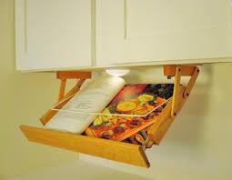 ultimate kitchen storage under cabinet lighted cookbook holder