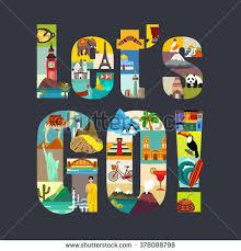 lets go travel around world theme stock vector 378088798