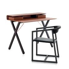 Wooden Secretary Desk by Contemporary Secretary Desk Wooden Steel Leather Kant By