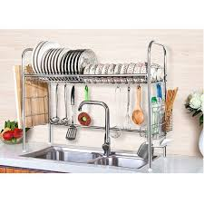 Cabinet Organizers For Dishes Dish Drying Rack Stainless Steel Dish Storage With Chopstick