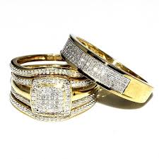 gold bridal set wedding rings set bridal set 3 and mens wide wedding band