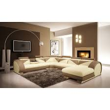 Baxton Studio Nottingham Cream Faux Divani Casa 7395 Modern Beige And Light Brown Leather Sectional