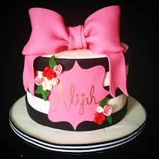 kate spade themed birthday cake black and white stripes with pink