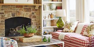 country style rustic modern farmhouse living room with red