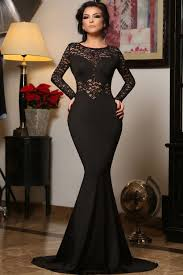 cheap black long sleeve mermaid lace prom dresses online store