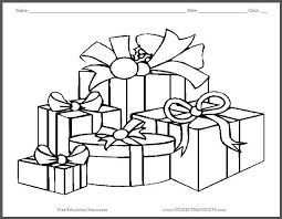 wrapped christmas gifts coloring page student handouts