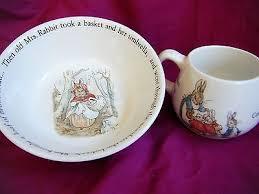 wedgwood rabbit nursery set wedgwood beatrice potter children s bowl 2 handled cup