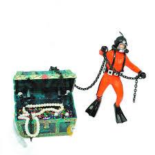treasure chest frogman diver resin fish tank ornament
