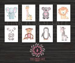 Penguin Home Decor by Set Lot Of 8 Zoo Safari Nursery Kids Room Playroom Prints Zebra