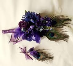 Royal Blue Boutonniere Purple Peacock Bouquet Royal Blue Budget Bouquet Boutonniere Set