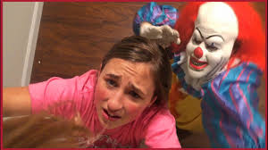 scary killer clown chases us in the house girls run and hide