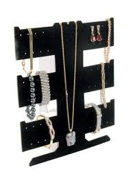 display necklace images 6 x black velvet flocked earring necklace bracelet display bd255 jpg