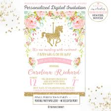 carousel baby shower carousel baby shower invitation pink gold floral carousel baby