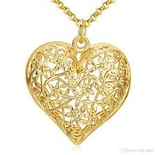 heart gold pendant necklace images Wholesale big hollow out heart shape pendant necklace flower jpg