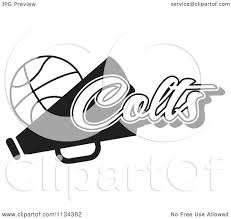 clipart of a black and white colts basketball cheerleader design