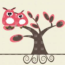 two funny cartoon owls on the tree branch vector clipart image