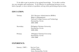 Resume Service Crew Resume Resume Format For Freshers Bank Job Wonderful Demo Resume