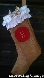 no sew diy burlap christmas stockings