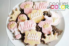 in color cookies in color princess baby shower cookies
