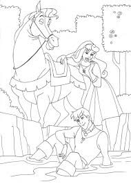 aurora and the prince riding a horse coloring page animal pages