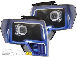 led strip lights headlights ford f 150 f150 custom retrofit hid bi xenon headlights led strips