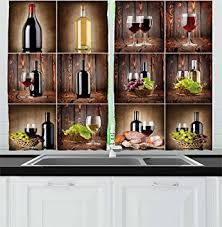Wine Bottle Kitchen Curtains Wine Kitchen Curtains By Ambesonne Wine Themed